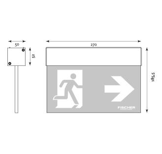 Rettungszeichenleuchte A3 hochwertige Design-Scheibenleuchte