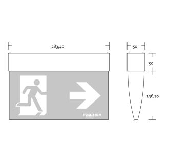 Rettungszeichenleuchte F1  LED Design-Kunststoffleuchte