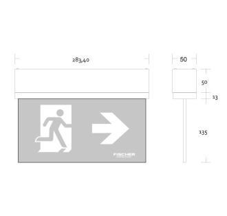 Rettungszeichenleuchte S1  LED Design-Scheibenleuchte