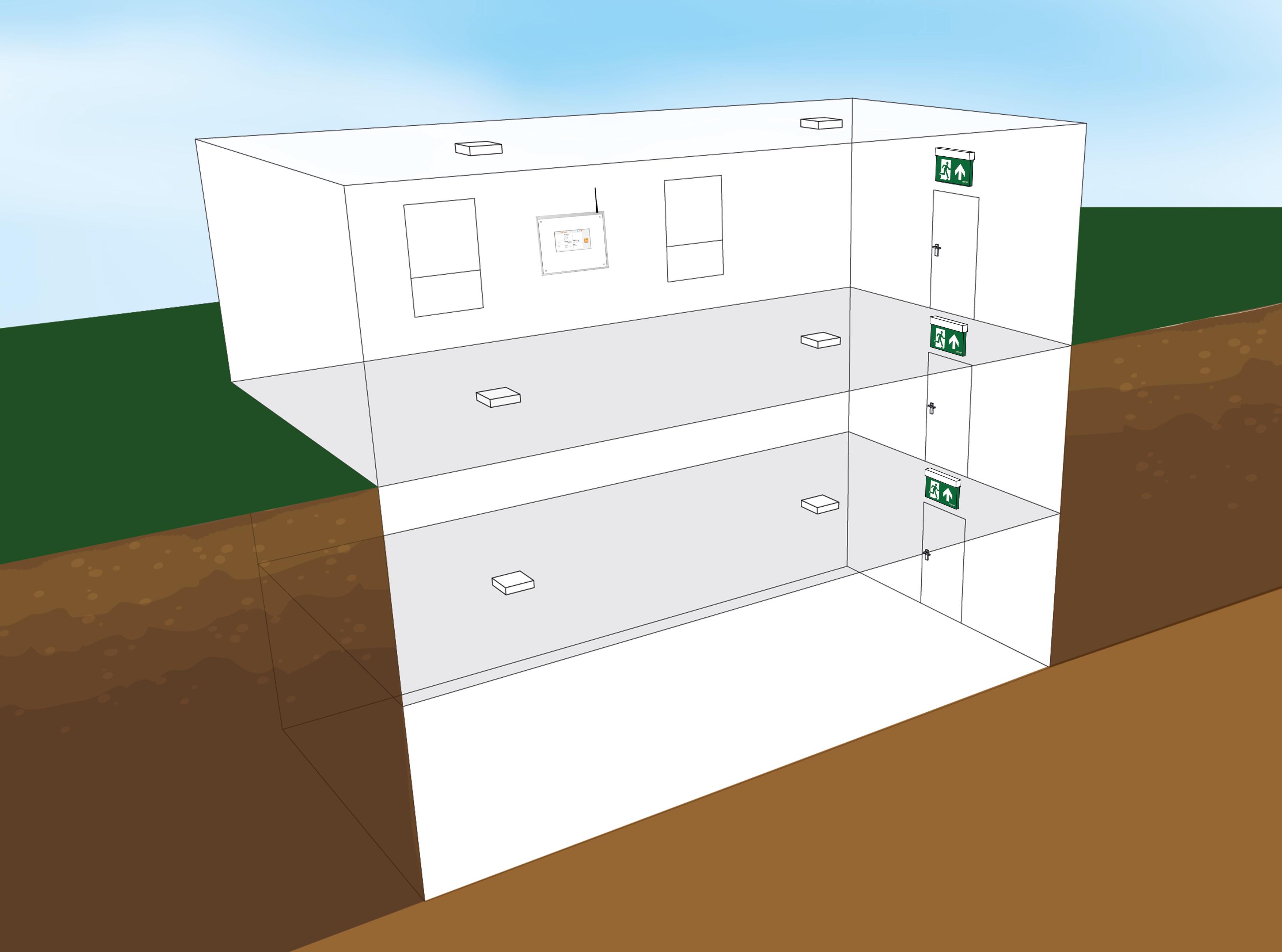 Gebäude im Normalbetrieb - Rettungszeichen bei 500 cd/m²